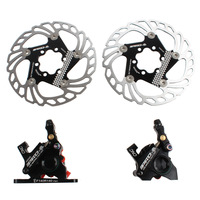 Road Hydraulic Disc Brake Flat Mount Calipers Bicycle Double sided Drive Bilateral Mechanical Cable Oil Disc Brake 140mm Rotors