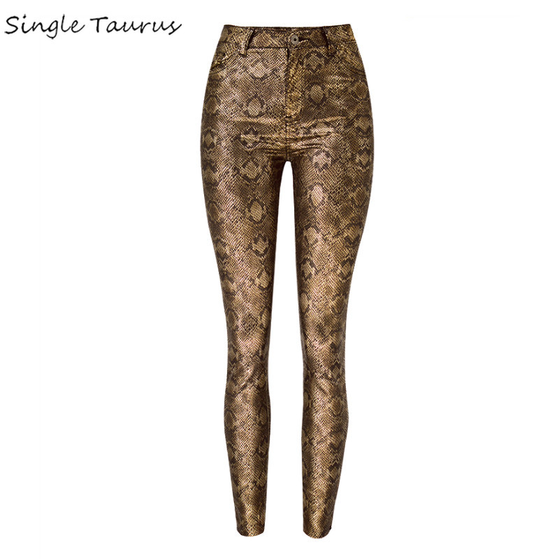 Women Snake Print Pants Women High Waist Push Up Skinny Jeans Femme Streetwear Animal Pattern Patchwork Vintage Golden Leggings