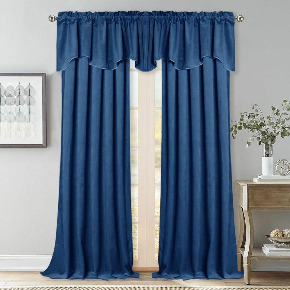 1pc Luxury Velvet Valance Scalloped Half Window Curtain Tier Wave