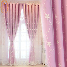 Net Red Princess Douyin Double-Layer Curtains for living room Bedroom Girl Hipster Warm Korean Girl Embroidery General Pleat