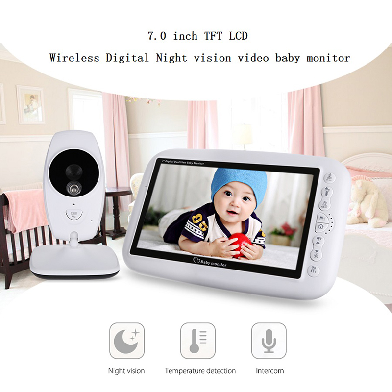 Neng  Wireless Video Baby Monitor Night Vision Camera Video 7 inch LCD Sreen Temperature Sensor 2 Way Audio Talk Nanny Monitor-in Baby Monitors from Security & Protection