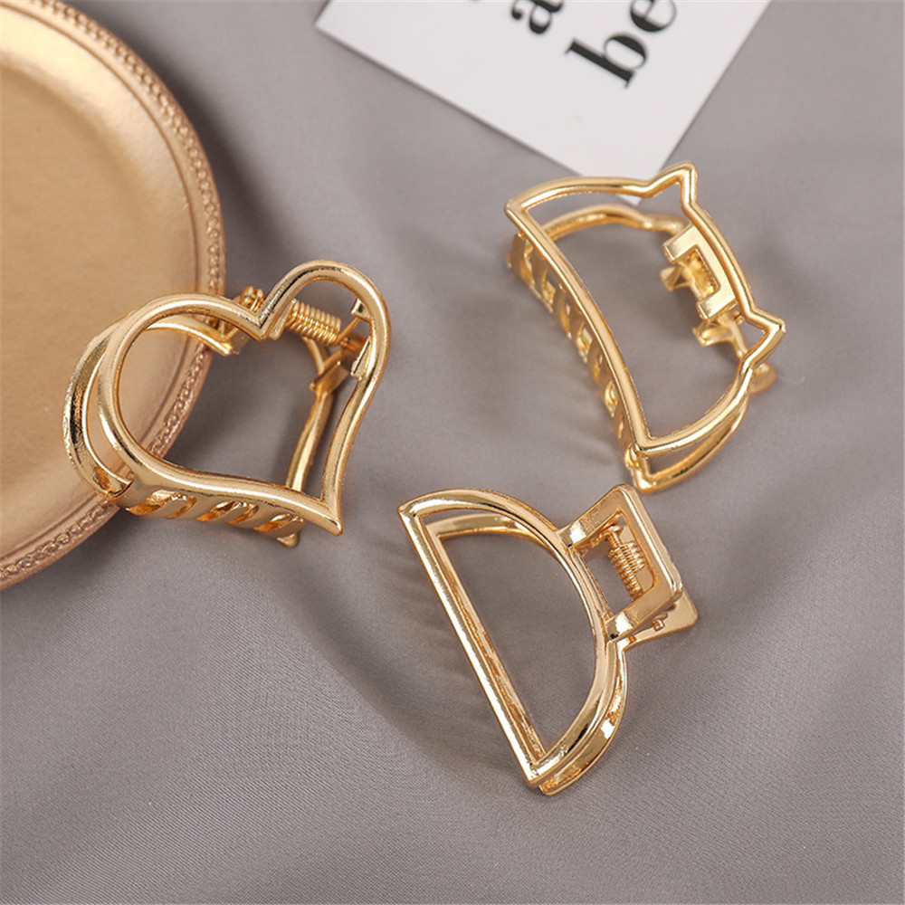 2020 Women Girls Geometric Hair Claw Clamps Hair Crab Moon Shape Hair Clip Claws Solid Color Accessories Hairpin