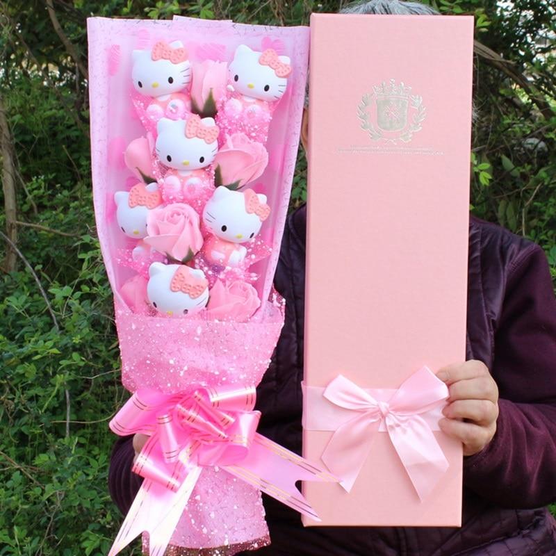 Красивые Искусственные цветы Букеты с Китти мыло в форме игрушек розы Свадебное платье невесты на день рождения, подарок на день матери под...