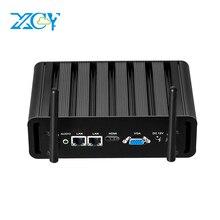 XCY Fanless Mini Pc Intel Core i3 5005U Linux Thin Client Micro Desktop Computers Industrial Komputer Win 10 Mini PC 2Lan Port