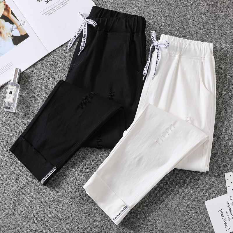 Ripped  Pants Women     Plus Size  Ankle Length Elasticity Fashion Spring   Office Lady Loose  Drawstring Female   Harem Pants