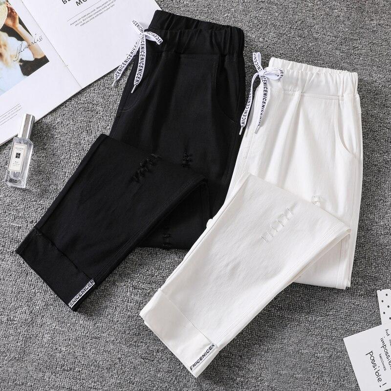 Ripped  Pants Women     Plus Size  Ankle Length Elasticity Fashion Spring   Office Lady Loose  Drawstring Female   Harem Pants