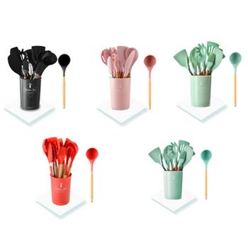 9 11 sztuk zestaw przyborów do gotowania zestaw przyborów kuchennych naczynia kuchenne silikonowe non-stick łopatka łyżka narzędzie do gotowania Utensilios De Cocina tanie i dobre opinie Ekologiczne Zaopatrzony Ce ue C231-04 10 Zestawy narzędzi do gotowania Cooking Tool Sets Silicone + Wooden Handle Red Tiffany Green Light Green Pink Black
