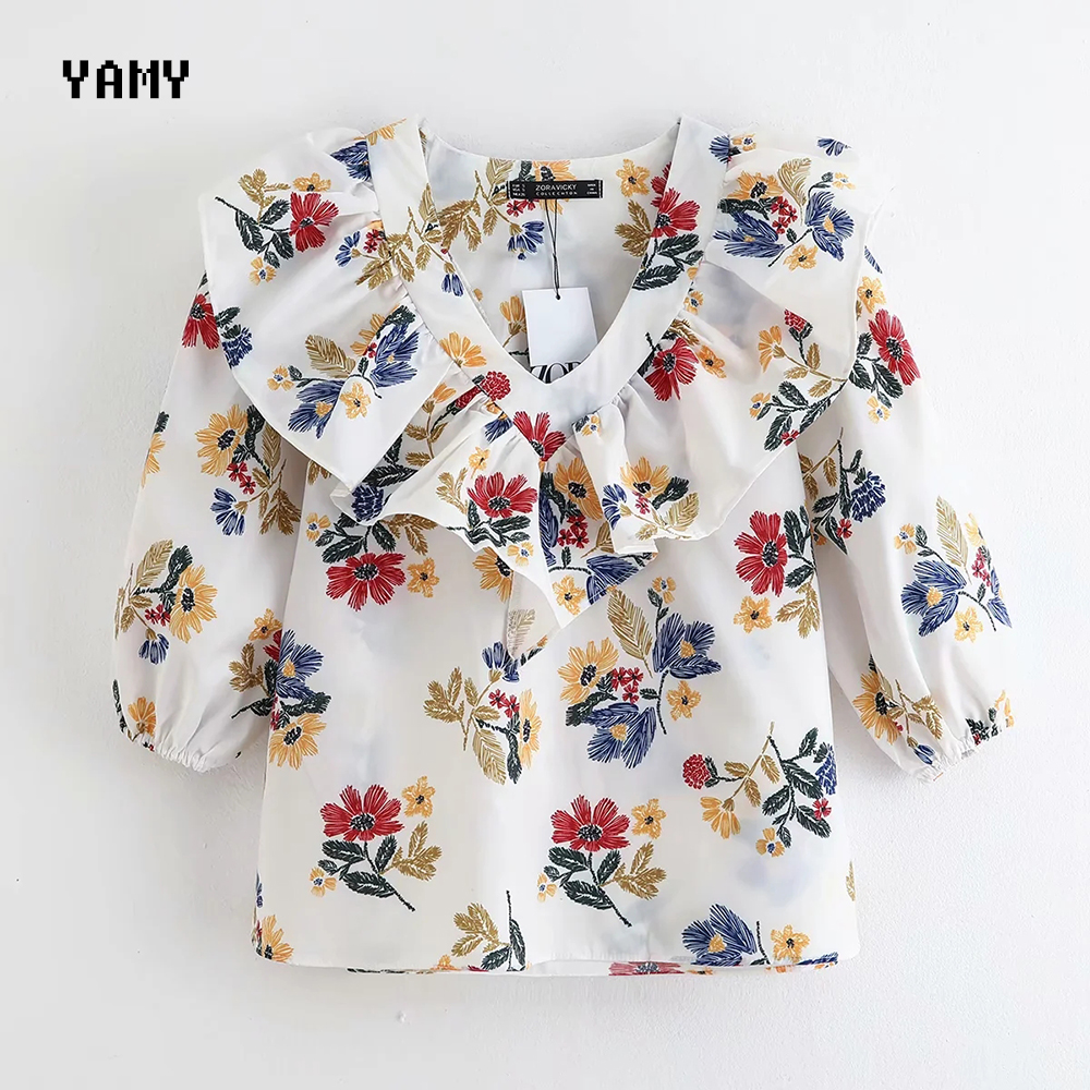 New Poplin Womens Tops And Blouses Floral Print Stylish Zoravicky Summer Ruffles Top Zoravicky Summer Blouse White Top 2020