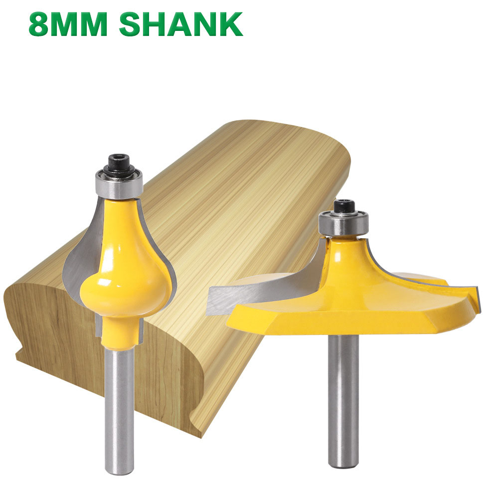 2PC/Set 8MM Shank Milling Cutter Wood Carving Handrail Router Bit Set - Standard/Bead Woodworking Tenon Cutter For Woodwork Tool