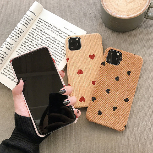 Cloth Texture Love Heart Wave Point iPhone Back Case Cover
