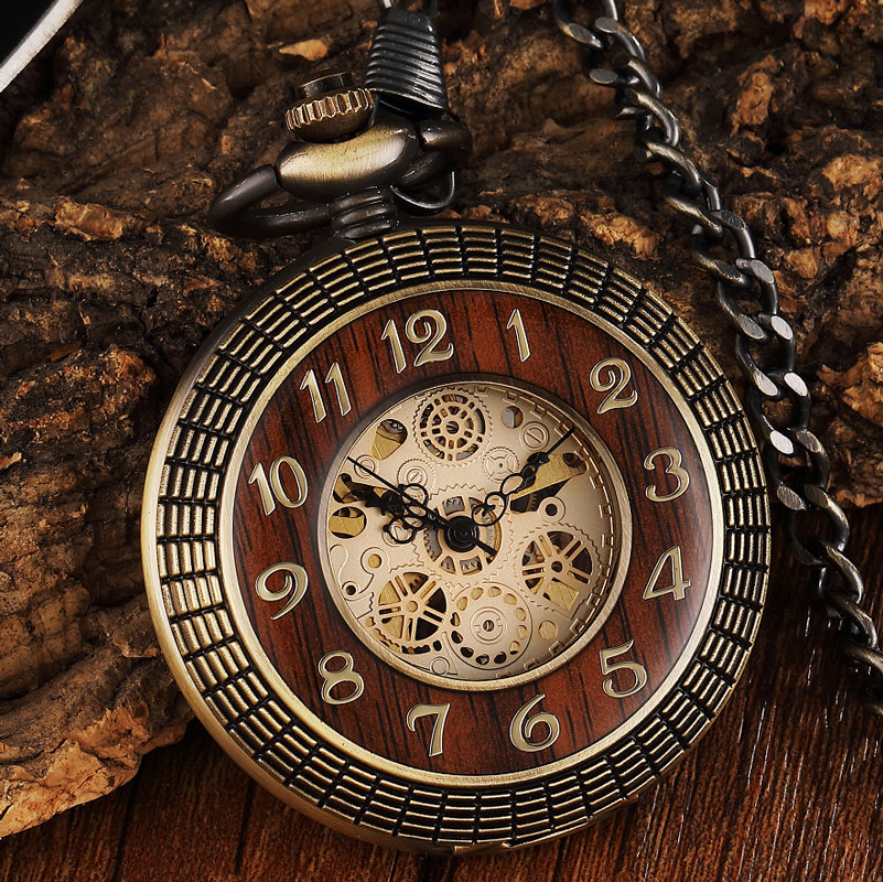 Hot Sale Box Package Wood Mechanical Pocket Watch FOB Chain Locket Dial Steampunk Hollow Skeleton Men Women Mens Male  Watches