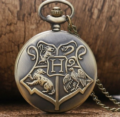 Bronze Retro Pocket Watch Shield Hogwarts College Slytherin Theme Necklace Chain Kids Adults Unique Christmas Gifts For Men