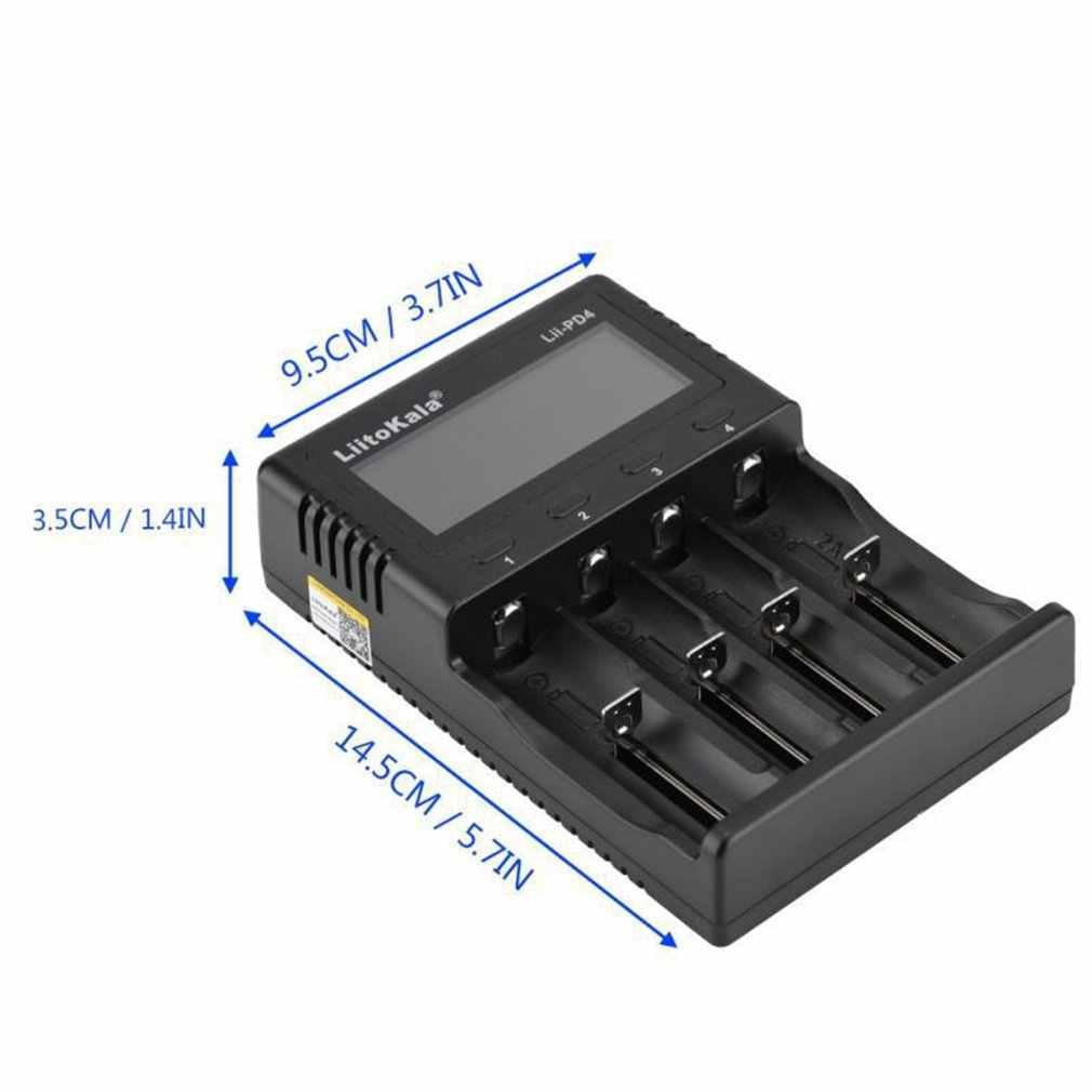 Liitokala Lii-PD4 18650 wyświetlacz LCD ładowarka 26650 21700 14500 10440 4 gniazda NiMH akumulator litowo-jonowy inteligentny uniwersalna ładowarka baterii