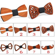Wooden Bow Tie Handkerchief Set Men's Plaid Bowtie Wood Hollow carved cut out Floral design And Box Fashion Novelty ties b10