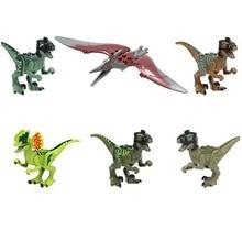 8pcs Jurassic Dinosaur Set Building Block Toy Figure Velociraptor Pteranodon Dilophosaurus  World Dino Brick Compatible