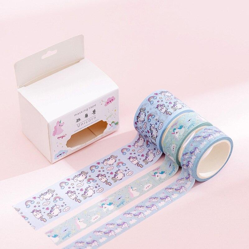 3 Pcs/pack Cartoon Unicorn Washi Tape Set Cute Decorative Tape DIY Scrapbooking Sticker Label Office School Supplies