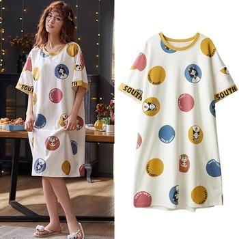 Cute Cartoon Sleepwear For Women Nightgowns Dressing Gown Summer Nightdress Cotton Nighty Sleepshirt Plus Size Pijamas Pyjama 1