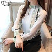 Casual V-ausschnitt Büro Dame Tops Frauen Vintage Print Langarm Chiffon Bluse Blusas Mujer De Moda 2019 Herbst Tops 7086 50