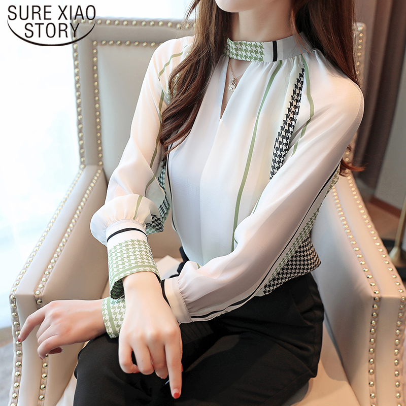 Casual V-neck Office Lady Tops Women Vintage Print Long Sleeve Chiffon Blouse Blusas Mujer De Moda 2019 Autumn Tops 7086 50