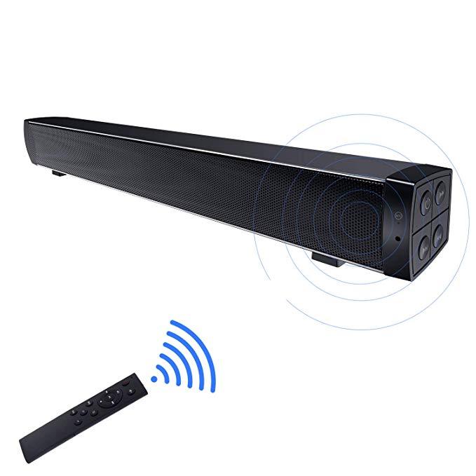 Barres de son Bluetooth, Mini haut-parleurs portables filaires et sans fil de 20 pouces pour le son Surround de cinéma maison