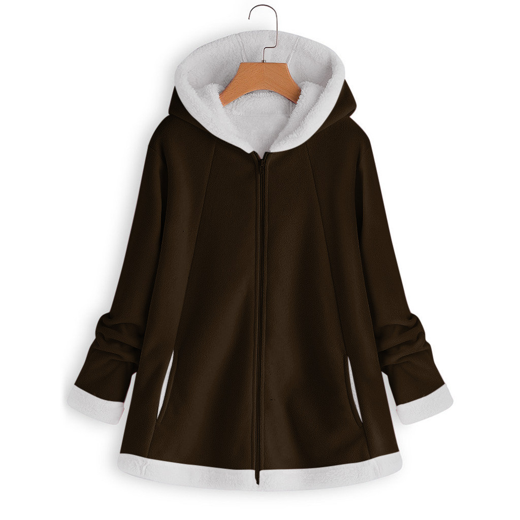 H78f07228ffed4749a217da7c93c9923cM women's autumn jacket Winter warm solid Plush Hoodie Coat Fashion Pocket Zipper Long Sleeves outwear manteau femme plus size 5XL