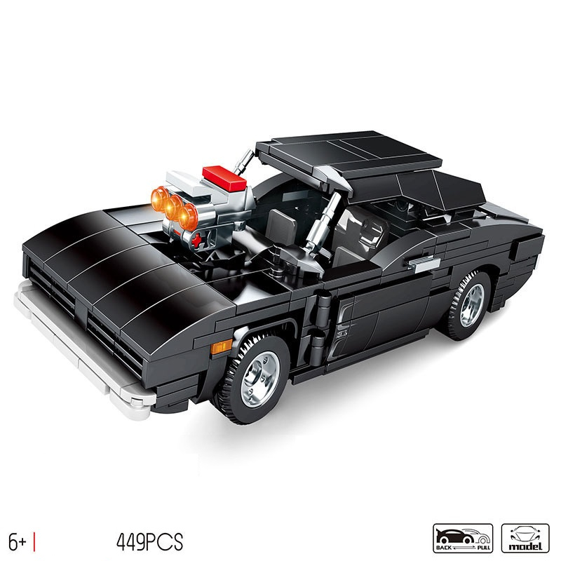 NEW Technic MOC 1970 Dodge Charger R/T Racing Speed Sports Car Building Blocks Sets Bricks Model Children Toys Gifts Compatible