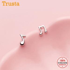 Trustdavis 925 Sterling Silver Fashion Tiny Asymmetric Music Notation Stud Earrings for Women Wedding Party S925 Jewelry DA1033
