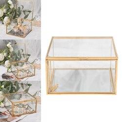 Glass Jewelry Box Vintage Clear Glass Tray Jar Candle Holder Jewelry Storage Organizer for Dressing Table Decoration Storage