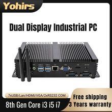 Frete grátis mini industrial pc intel core i3 i5 8265u 8550u uhd 620 1 * rj45 lan 2 * coms 4 * usb3.0 ddr4 portátil computador de jogos