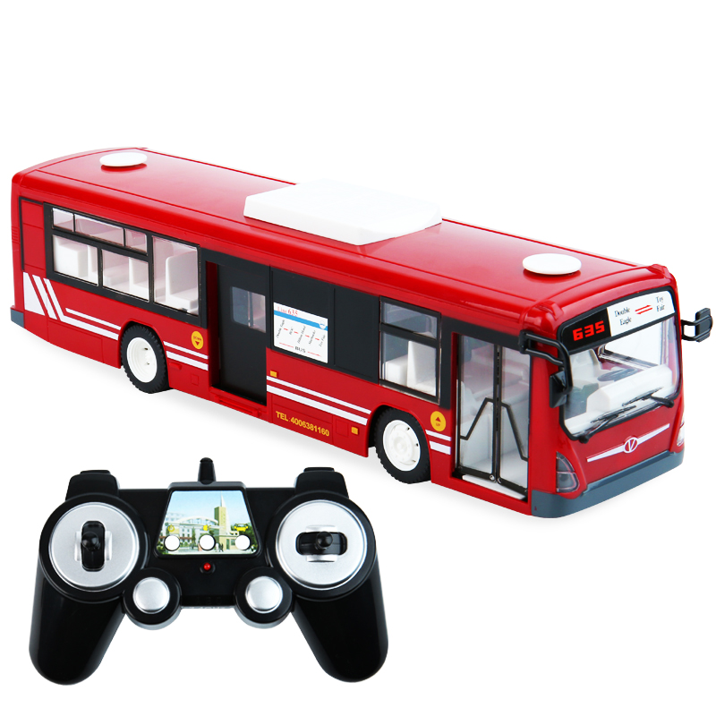 RC <font><b>Car</b></font> 6CH 2.4G Remote Control Bus City High Simulation One <font><b>Key</b></font> Start Function Bus With Realistic Sound & Light For Boys Gift image