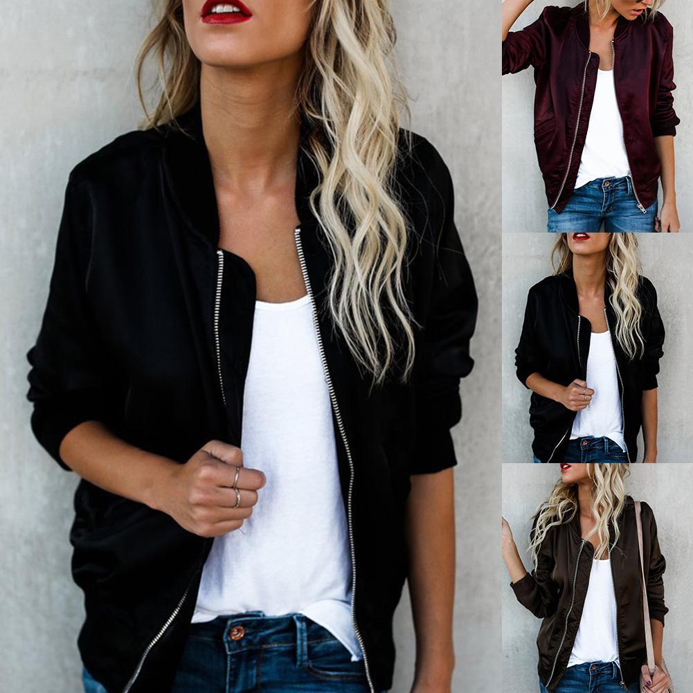 Autumn Winter Jacket Women Classic Coat Short Bomber Solid Zip Up Jacket Coat Black Wine Red For Ladies Tops Mujer Veste Femme