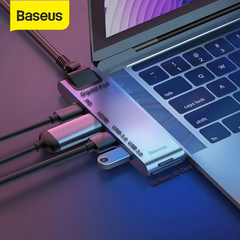 Thunderbolt 3 8 in 1 USB C Adapter with 4K USB C to HDMI Gigabit Ethernet USB C Charging for MacBook Pro 2016//2017//2018 3 USB 3.0 SD//MicroSD Card Reader USB C Hub to HDMI Adapter