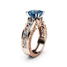 Anéis de diamante azul moda feminina cor separação rosa ouro casamento noivado anel floral dia dos namorados