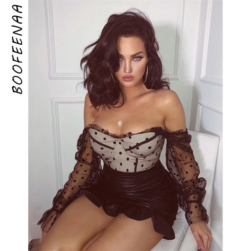 BOOFEENAA Polka Dot Mesh Ruffle Long Sleeve Blouses Shirts Womens Fall Tops 2019 Vintage Sexy Transparent Ladies Crop Top C71AA5