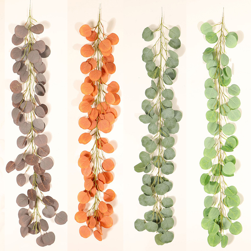 1M Hanging Greenery Artificial Rattan Garland Eucalyptus Vine Leaves Ivy Wreath Wedding Party Photo Props Home Decor