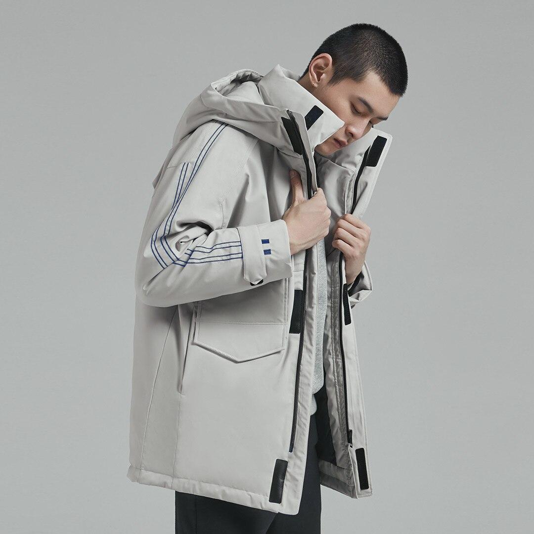 Xiaomi 90Fun moda 3D bordado 90% pato abajo chaqueta Ipx4 impermeable Anti perforación tela con capucha hombres abajo chaquetas abrigos - 4