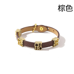 Image 3 - Глянцевый кожаный браслет для женщин из титановой стали с золотыми буквами и двойной петлей