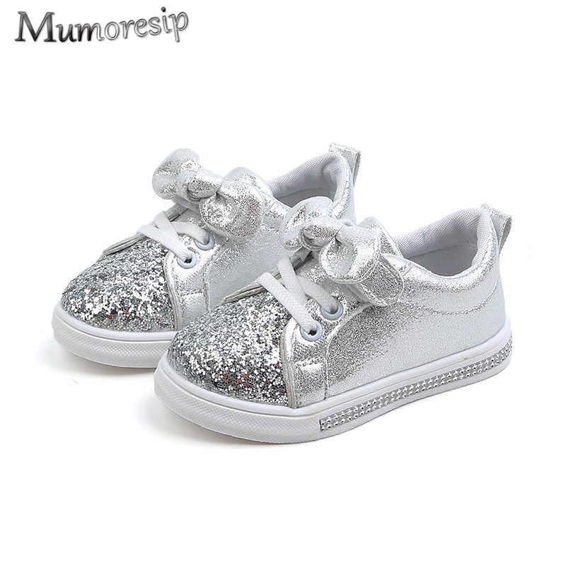 Kids Casual Shoes For Baby Little Toddlers Girls Kindergarten To School Children Sneakers Sequined Bow-knot Soft Rhinestone Soft