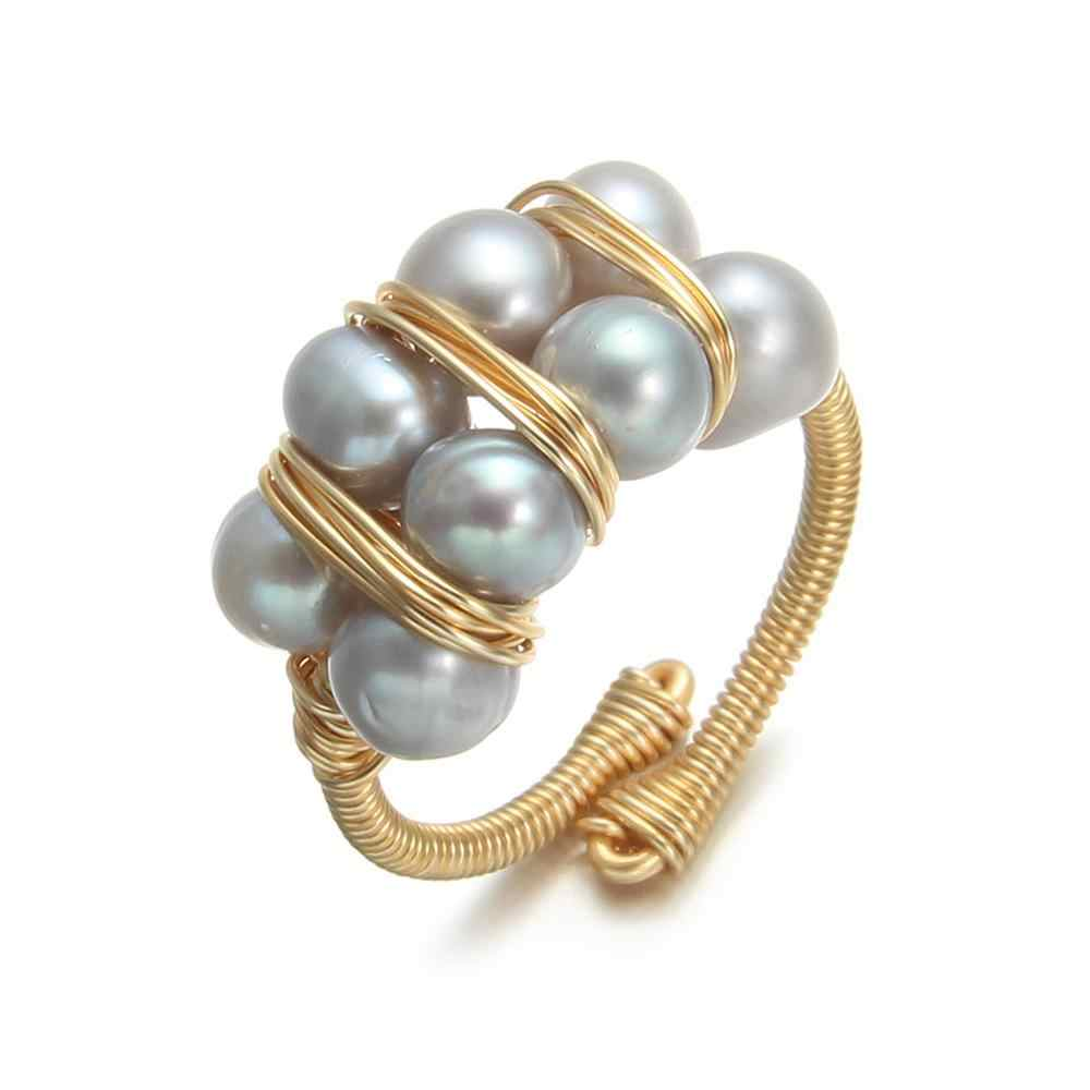 สีเทาแหวนไข่มุกน้ำจืด Pearl แหวนสำหรับของขวัญผู้หญิงการออกแบบเดิมทำด้วยมือแหวนไข่มุกเครื่องประดับ