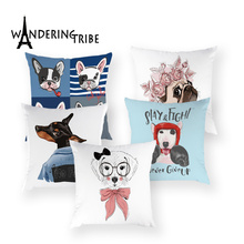 Cartoon Dog Pillow Case Lovely Boston Bull Terrier Boxer Cushion Cover Cute Pug Home Decor Sofa White Cushions Cases Cojin