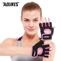 Aolikes 1 par masculino feminino ginásio metade dedo esportes fitness exercício luvas de treinamento de pulso anti-deslizamento resistência weightlifting luvas