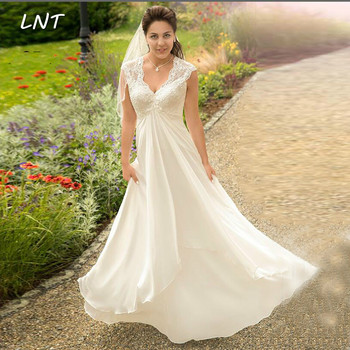 Cap Sleeves V Neck Chiffon Country Wedding Dresses Long Beach Bridal Dresses Gown