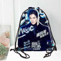 Hot Dimash Printed backpack drawstring bag satin soft shoe bags to school custom Logo bags for women