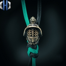 Original Ancient Samurai Helmet Knife Beads Outdoor EDC Umbrella Rope Retro Pendant Keychain Survival Paracord Beads