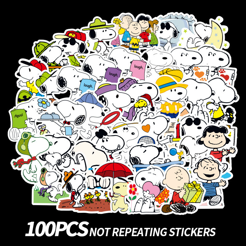 100pcs Cartoon Snoopy Stickers for Laptop Skateboard Luggage Decal Office Toy Appliances Netbook Waterproof Stickers