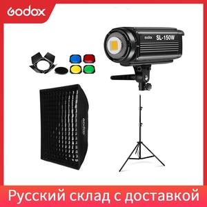 Image 1 - Godox SL 150W SL150W 5600 18k ホワイトバージョン液晶パネル連続 led ビデオライト + 70 × 100 センチメートルソフトボックス + 2.8 メートルライトスタンド + 納屋ドア