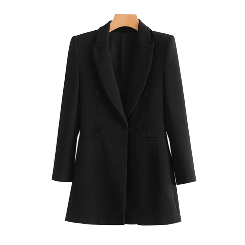 2019 autumn and winter women's suit European and American style women's long double-breasted solid color slim suit female blazer