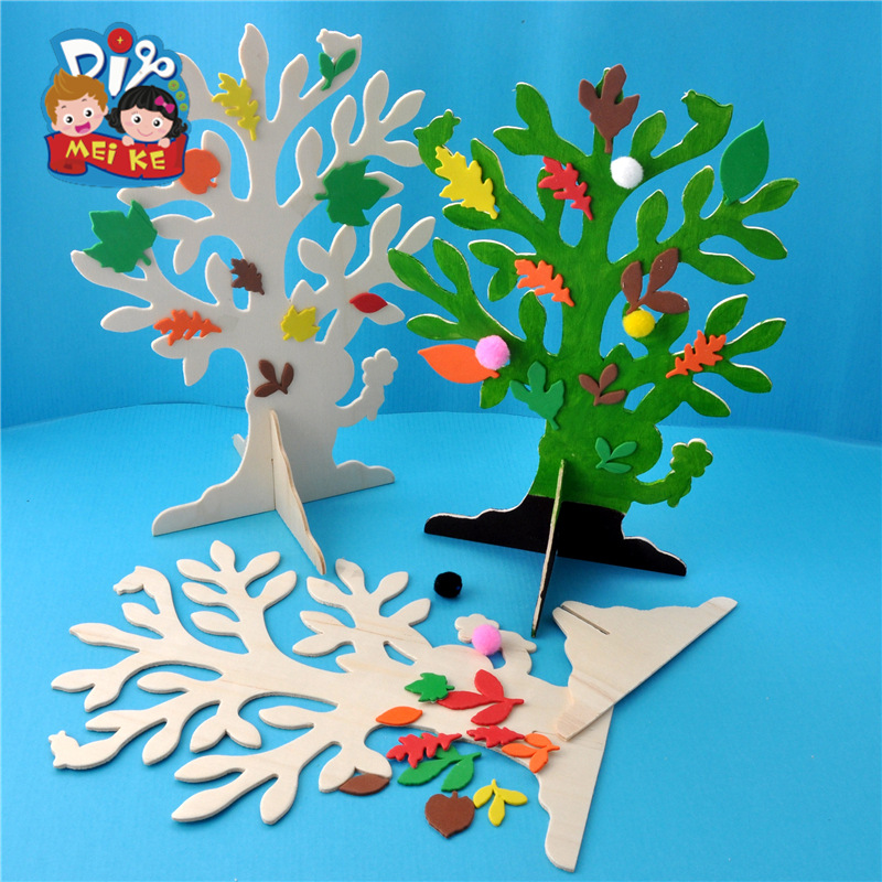 Arbor Day DIY White Base Wood Tree Kindergarten Children Material For Making Art And Craft Toy Material Box