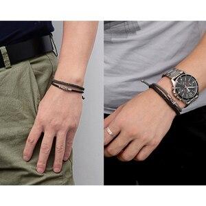 Image 3 - Bransoletka ze srebra próby 925 talizman pleciona dla mężczyzn podwójna warstwa regulowana bransoletka tybetańska Handmade Knots Lucky Rope personalizowana