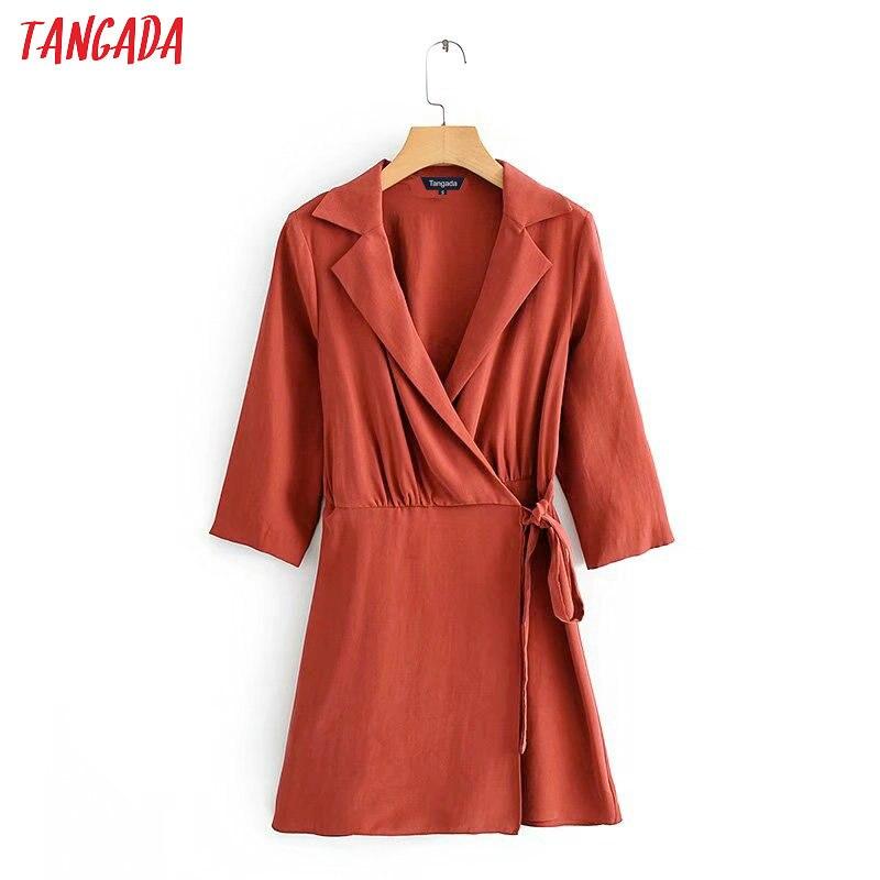 Tangada Fashion Women Red Wrap Dress Turn Down Collar Bow Long Sleeve Office Lady Elegant Mini Dress Vestidos 3C04